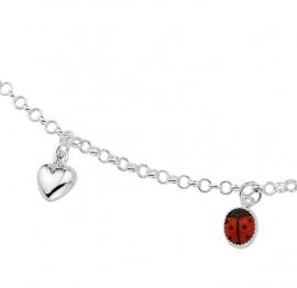 Zilveren Jasseron Collier met Lieveheersbeestje Hanger
