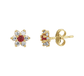 Geelgouden Diamanten Rozet Oorknoppen met Rode Robijn