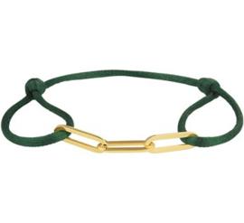 Groene Satijnen Armband met Goudkleurige Schakels