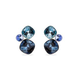 Oorbellen met Donkerblauwe Swarovski Kristallen van Spark