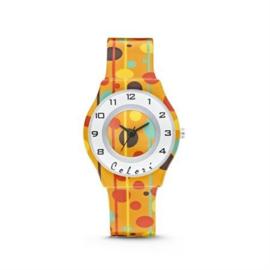 Geel Horloge voor Kids met Kleurrijke Stippen van Colori Junior