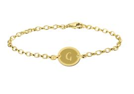 Names4ever Gouden Names4ever Armband met Ovaalvormige Letterhanger