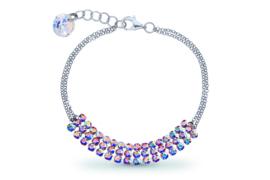 Stylish Zilveren Armband met Gekleurde Swarovski Kristallen