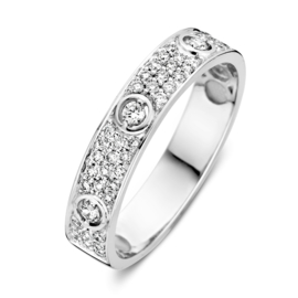 Excellent Jewelry Brede Witgouden Ring met 0,33 crt. Briljanten