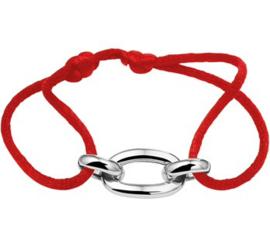 Armband Satijn Rood met Zilveren Schakels