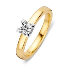 Excellent Jewelry Licht Bolstaande Ring van Geelgoud met Briljant
