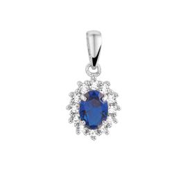 Ovale Zirkonia Hanger van Zilver met Synthetische Blauwe Saffier