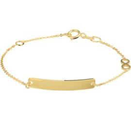 Gouden Graveer Armband Infinity Plaat 4 mm 11 - 13 cm