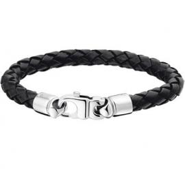 Armband van Gevlochten Zwart Leer met Karabijnsluiting