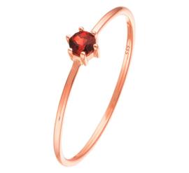 Slanke Ring van Roségoud met Rode Granaat Edelsteen