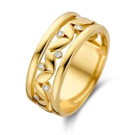 Excellent Jewelry Gouden Ring met Bladvormige Plaatjes
