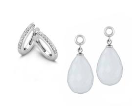 MY iMenso Zilveren Creoli Oorbellen met Zirkonia's + Witte Creoli Hangers