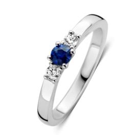 Excellent Jewelry Bolstaande Witgouden Ring met Saffier en Briljant