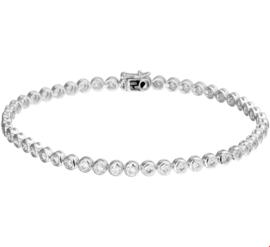 Witgouden Armband met Stevige Ronde Schakels en 2crt. Diamanten
