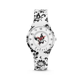 Wit Kids Horloge met Zwarte Bloemen van Colori Junior