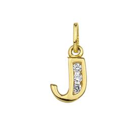 Alfabet Letter J Hanger van Geelgoud met Zirkonia's