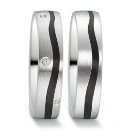 Matte Zilveren Trouwringen Set met Golvende Carbon Strook en Diamant