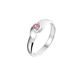 Bolle Zilveren Ring voor Kinderen met Roze Strass steen / Maat 14,5