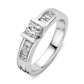 Excellent Jewelry Witgouden Ring met Briljanten Kopstuk 0,84 crt.