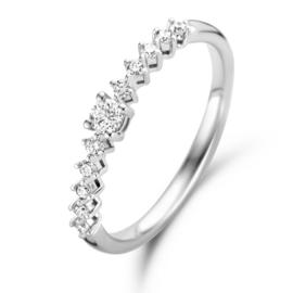 Excellent Jewelry Witgouden Ring met Diamanten Rij
