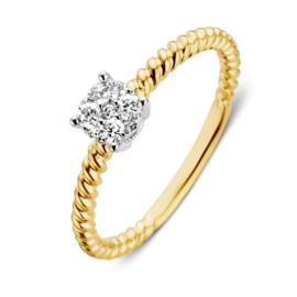 Excellent Jewelry Gedraaide Geelgouden Ring met 0,18 crt. Diamant