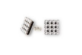 Mesh Oorknopjes van Zilver met Witte Swarovski Kristallen