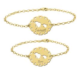 Gouden Moeder en Dochter Olifantjes Naamarmbandjes Set > Names4ever