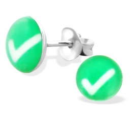 Groen Vinkje Zilveren Oorbellen