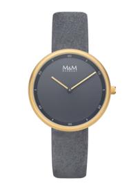 M&M Horloge met Goudkleurige Kast en Grijze Horlogeband