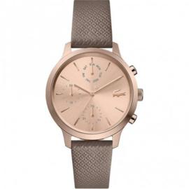 Roségoudkleurig Dames Horloge met Lederen Band van Lacoste