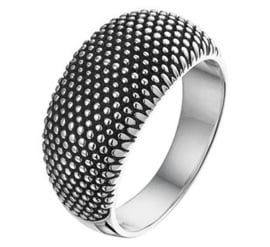 Geoxideerd Zilveren Ring met Bolletjes
