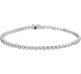 Witgouden Armband met Ronde Schakels en Transparante Diamanten