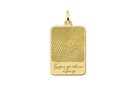 Rechthoekige Vingerafdruk Hanger van Goud Names4ever