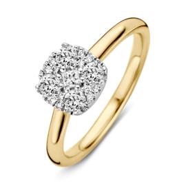 Excellent Jewelry Geelgouden Ring met Vierkant Briljant Plaatje