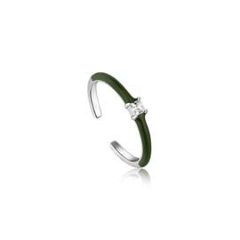 Ania Haie Bright Future Zilveren Ring met Groene Emaille en Zirkonia