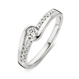 Excellent Jewelry Bolstaande Witgouden Ring met Diamanten