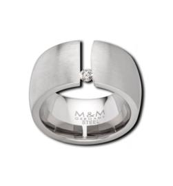 Brede Zilverkleurige Ring met Kleurloze Zirkonia van M&M