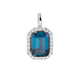 Witgouden Hanger met London Blue Topaas en Diamanten