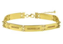 Names4ever Gouden Armband met Rechthoekige Naamplaatjes GNA58