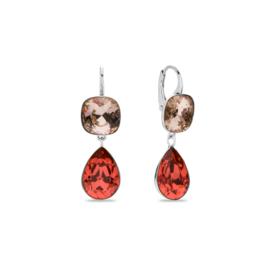 Spark Oorbellen met Beige en Rode Swarovski Kristallen