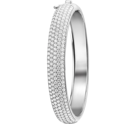 Robuuste Zirkonia's Bangle armband van Zilver