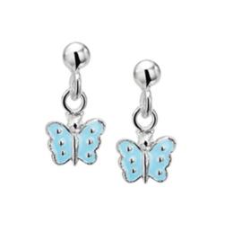 Zilveren Vlinder Oorhangers met Lichtblauwe Emaille