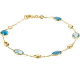Armband van Geelgoud met London Blue en Blauwe Topaas Edelstenen