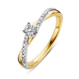 Excellent Jewelry Bicolor Ring met Diamant en Diamant Kopstuk