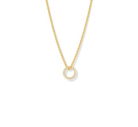 Gouden Anker Collier met Opengewerkte Diamant Cirkel
