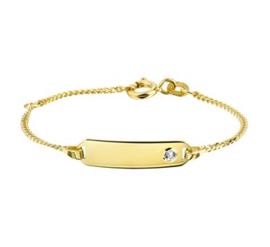 Gouden Armband met Graveerplaatje en Zirkonia voor Kinderen