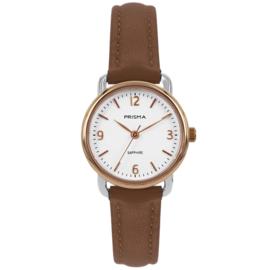 Prisma Roségoudkleurig Dames Horloge met Warmbruine Horlogeband