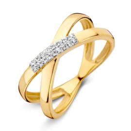 Excellent Jewelry Kruis Ring van Geelgoud met Zirkonia's
