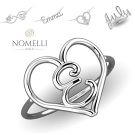 Witgouden Hart Initiaal Ring van Nomelli
