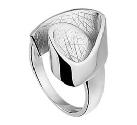 Kronkelende Dames Ring van Gerhodineerd Zilver
